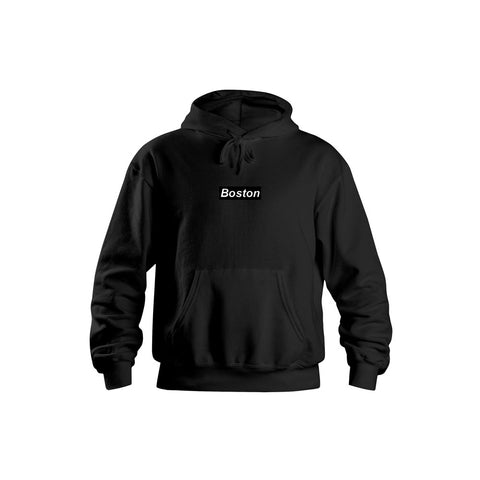 Boston SIDE ZIP® Black Hoodie - THE LABEL LTD