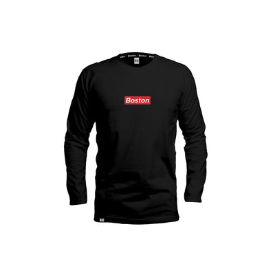 THE BOSTON BLACK RED BOX LONG SLEEVE