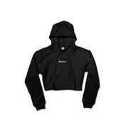 Ladies Black Boston Oversized Crop Hoodie - THE LABEL LTD