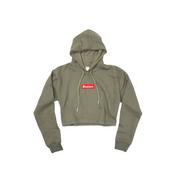 Ladies Military Green Boston Oversized Crop Hoodie - THE LABEL LTD