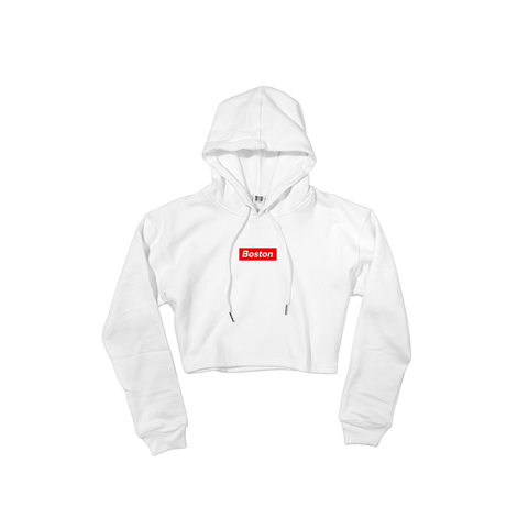 Ladies White Boston Oversized Crop Hoodie - THE LABEL LTD