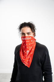 Red Boston Box Logo Stretch Bandana - THE LABEL LTD