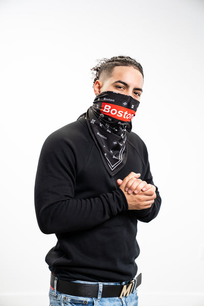 Boston Red Box Logo Stretch Bandana - THE LABEL LTD