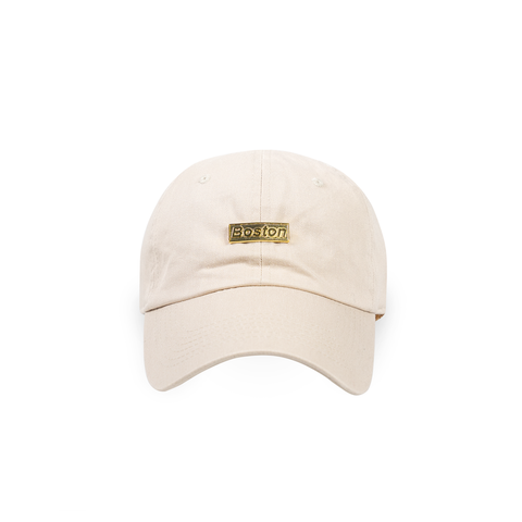 Khaki Boston Gold Bar Dad Hat - THE LABEL LTD