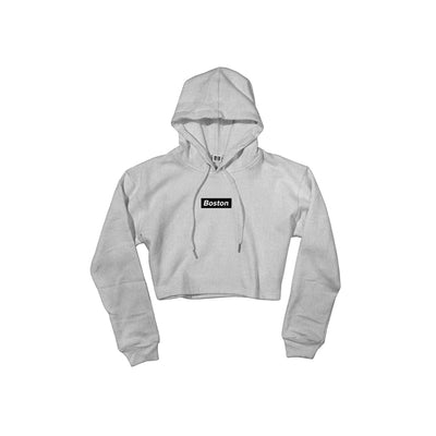 Ladies Gray Boston Crop Hoodie - THE LABEL LTD