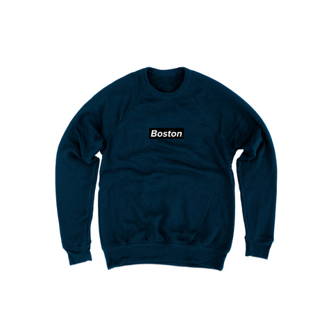 Ladies Box Logo Navy Crew Sweatshirt - THE LABEL LTD