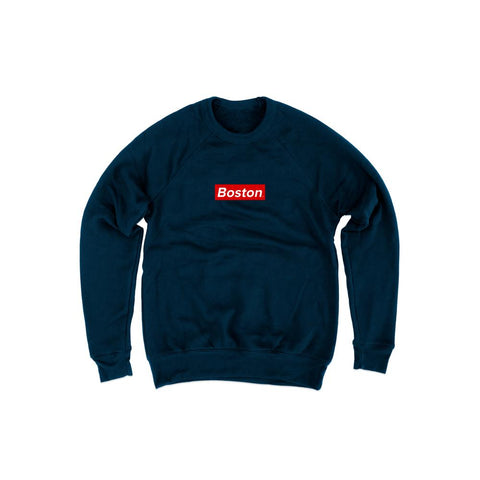 Mens Box Logo Navy Crew Sweatshirt - THE LABEL LTD