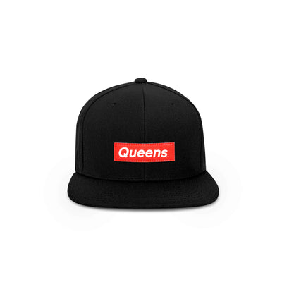Queens Red Box Logo Snapback Hat - THE LABEL LTD