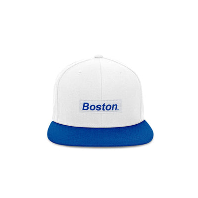 THE BOSTON HAT - WHITE|WHITE BOSTON BOX LOGO DUO-TONE BLUE SNAPBACK HAT