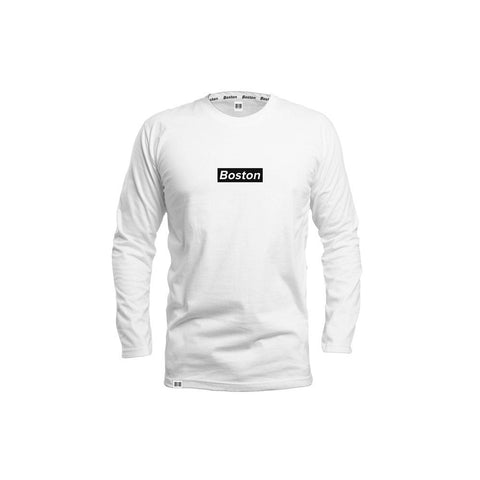 Boston Box Logo White Long Sleeve - THE LABEL LTD