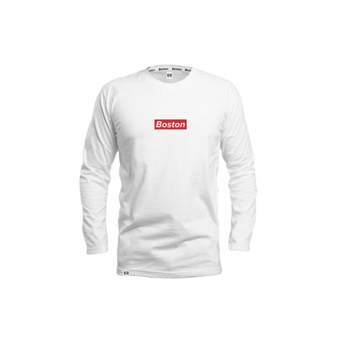 THE BOSTON WHITE RED BOX LONG SLEEVE