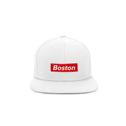 Red/White Box Logo Snapback Hat - THE LABEL LTD