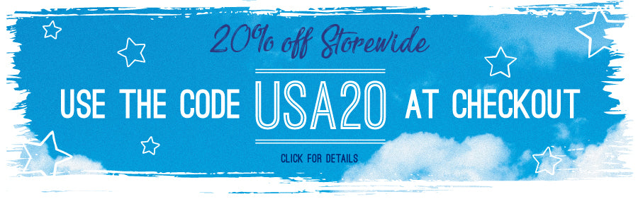 "Use code ""USA20"" for 20% sitewide"