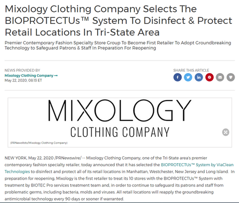 Mixology and BIOPROTECTUs in PR news wire