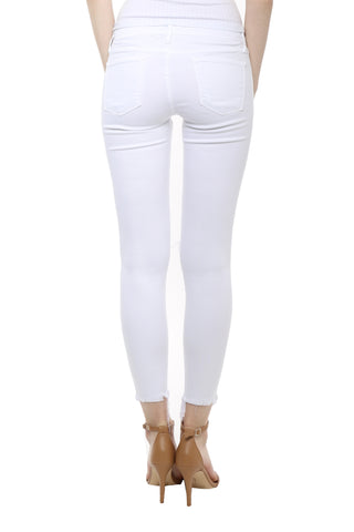 Flying Monkey White Cropped Fray Hem Skinny