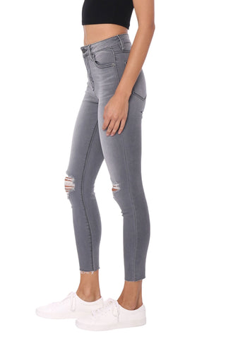 Hidden Grey Knee Distressed High Rise