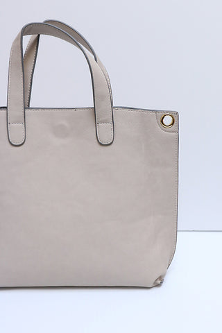 Jennifer Reversible Mini Tote - Grey/Ivory