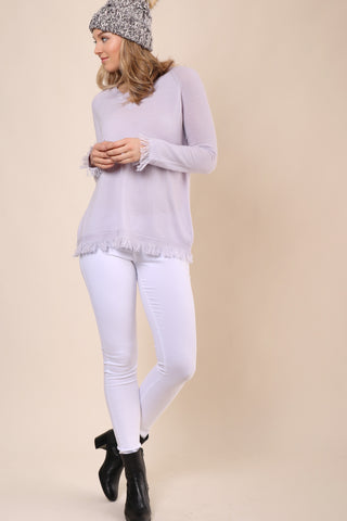Decker Luxe Raglan Fray Cashmere Sweater