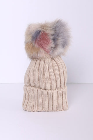 Jocelyn Knit Hat With Multi Pom - Cream