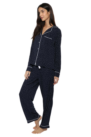 Rails L/S PJ Pant Set - Navy Mini Hearts