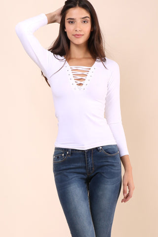 Suzette Long Sleeve Lace Up Top - White