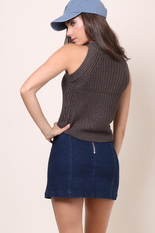 Gab & Kate Liza Crop Sweater Tank - Charcoal