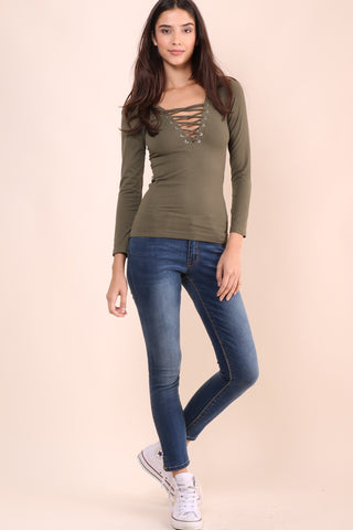 Suzette Long Sleeve Lace Up Top - Olive