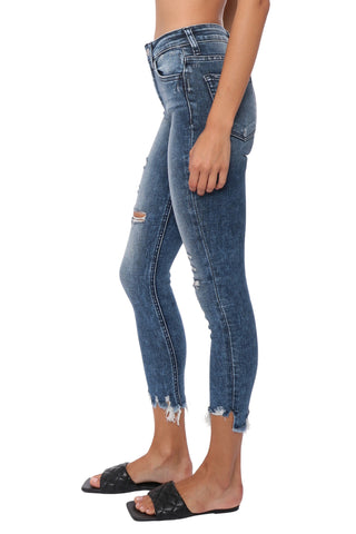 Flying Monkey High Rise Uneven Fray Hem Crop Jeans