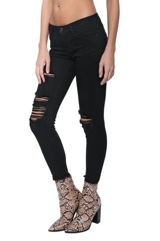 Just Black Distressed Fray Hem Skinny Jeans