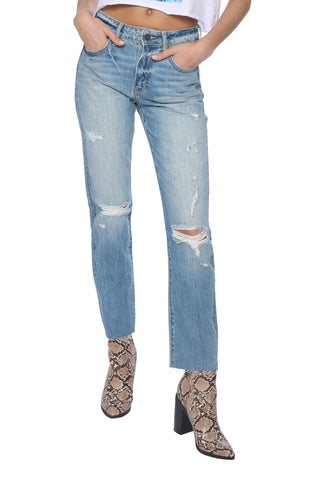 Hidden Distressed Straight Crop Jeans