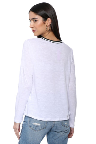 Jac Parker Crew Neck Long Sleeve Tee W/ Black & White Trim
