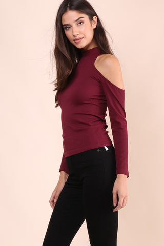 Suzette Mock Neck Cold Shoulder Top - Burgundy