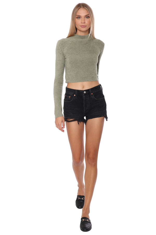 Gab & Kate Super Soft Cropped Turtleneck Olive