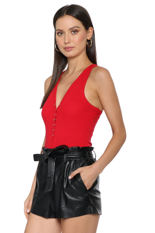 Jordyn Jagger Ribbed Button Up Bodysuit