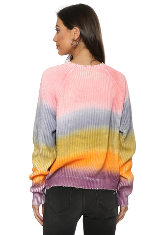 Fox + Hawk Rainbow Sprayed Knit Sweater