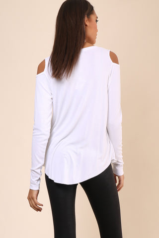 JET Slit Neck Rib Cold Shoulder Top
