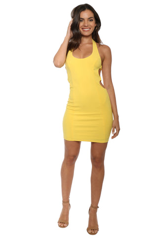 Gab & Kate Side Ring Halter Mini Dress
