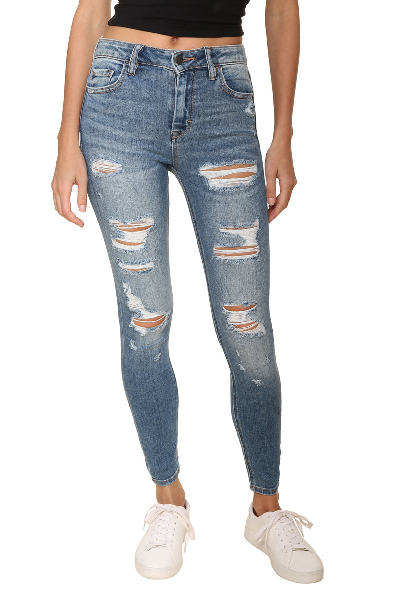High Rise Skinny With Raw Hem