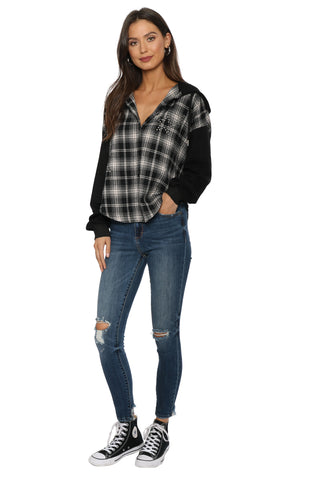 Brooklyn Karma Star Stud Plaid Button Up