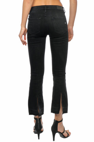 Hidden Black Cropped Flare Jean