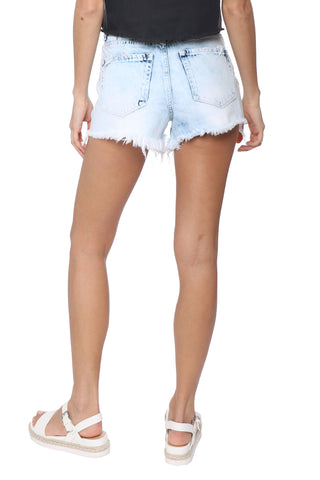 VERVET Super High Rise Distressed Mom Shorts