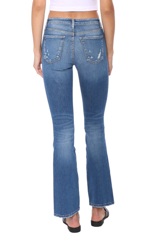 Flying Monkey Mid Rise Crop Distressed Bootcut Jeans