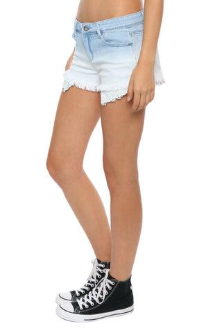 Tractr Blu Fray Hem Ombre Denim Shorts W/ Lace