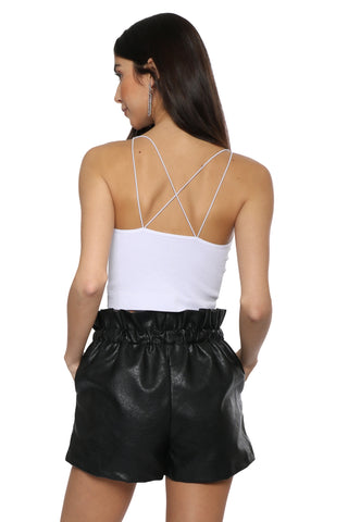 Suzette Cord Strap Lurex Ribbed Crop Top