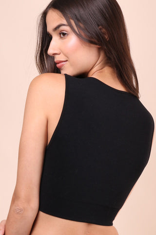 Suzette Double Lined Crop Top-Black
