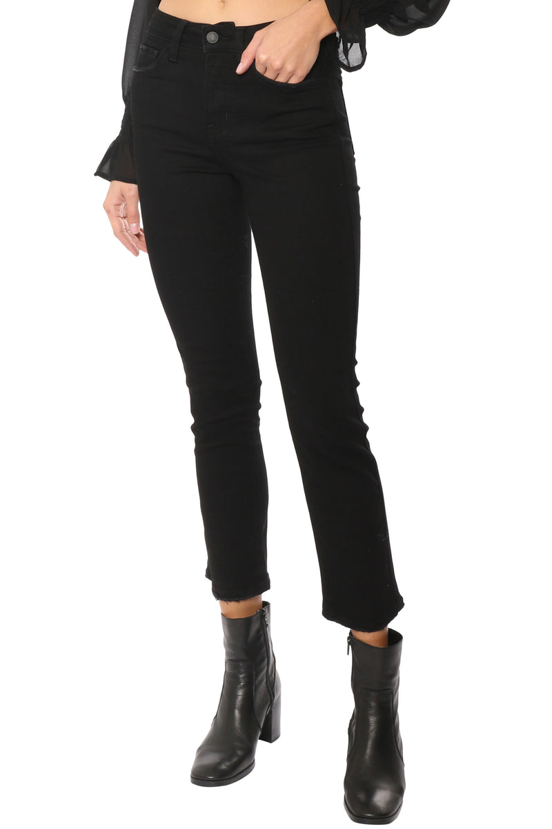 High Rise Hidden Button Up Ankle Jeans