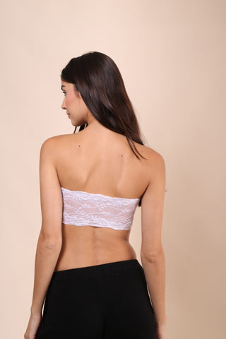 Suzette Lace Back Bralet - White