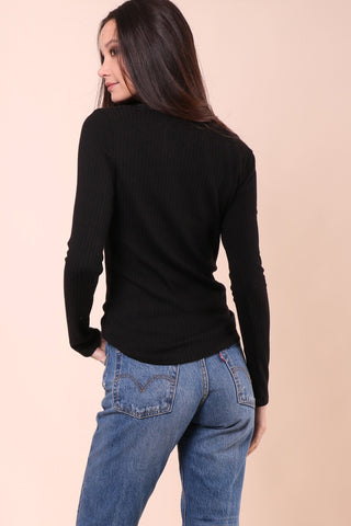Gab & Kate Riobbed Button Henley - Black