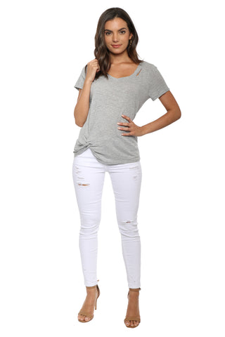 Jac Parker Distressed V Neck Tee