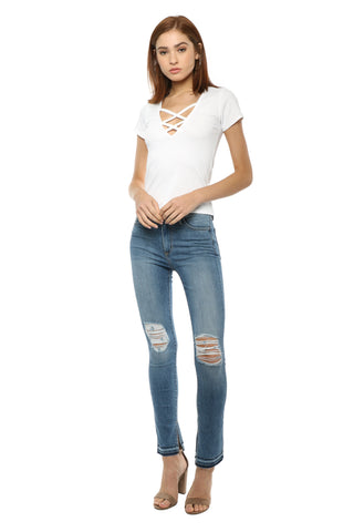 Jac Parker Criss Cross Ribbed Tee